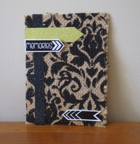 pocket scrapbook card damask burlap
