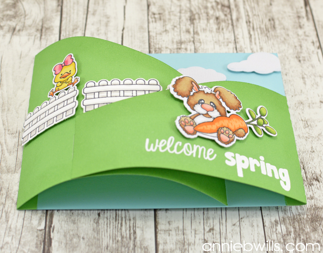Welcome Spring Bendi Card by Annie Williams - Side View
