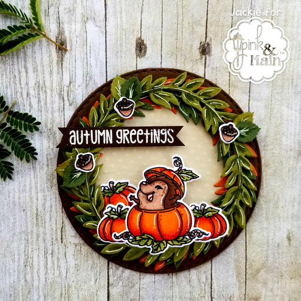 Autumn greetings pink and main blog to give my card some extra dimension i cut three wreath bases out in a burnt orange dark and light green colored cardstocks i used my alcohol markers to m4hsunfo